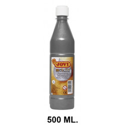 Témpera escolar líquida jovi, botella de 500 ml. color metalic plata.