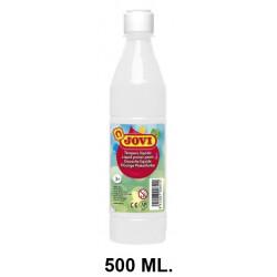 Témpera escolar líquida jovi, botella de 500 ml. color blanco.