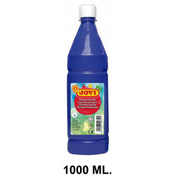 Témpera escolar líquida jovi, botella de 1000 ml. color azul oscuro.