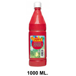 Témpera escolar líquida jovi, botella de 1000 ml. color bermellón.