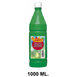 Témpera escolar líquida jovi, botella de 1000 ml. color verde medio.
