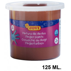 Pintura de dedos jovi, bote de 125 ml. color marrón.