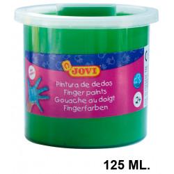 Pintura de dedos jovi, bote de 125 ml. color verde.