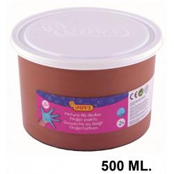 Pintura de dedos jovi, bote de 500 ml. color marrón.