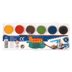 Acuarela escolar jovi, estuche de 6 pastillas de 22 ml. en colores surtidos + pincel.