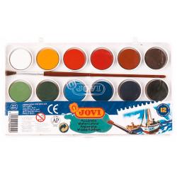 Acuarela escolar jovi, estuche de 12 pastillas de 22 ml. en colores surtidos + pincel.