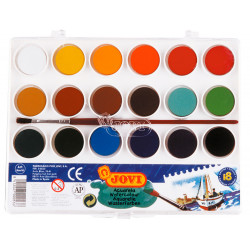 Acuarela escolar jovi, estuche de 18 pastillas de 22 ml. en colores surtidos + pincel.