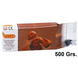 Pasta para modelar jovi air dry, pastilla de 500 grs. color terracotta.