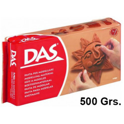Pasta para modelar das, pastilla de 500 grs. color terracotta.
