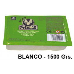 Arcilla para modelar sio-2, pastilla de 1.500 grs. color blanco.