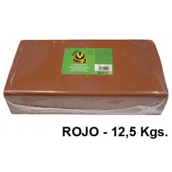 Arcilla para modelar sio-2, pastilla de 12,5 kgs. color rojo.