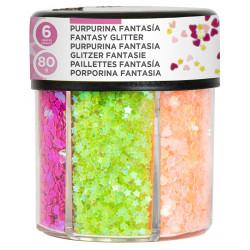 Purpurina fantasía en forma de corazón y estrellas liderpapel, bote de 80 grs. colores surtidos neón.