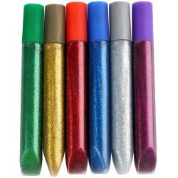 Pegamento con purpurina fantasía liderpapel, blister con 6 uds. de 10 grs. colores surtidos metálicos.