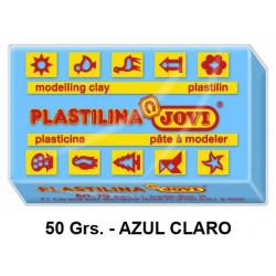 Plastilina jovi, pastilla de 50 grs. color azul claro.
