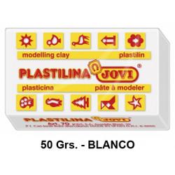 Plastilina jovi, pastilla de 50 grs. color blanco.