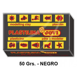 Plastilina jovi, pastilla de 50 grs. color negro.
