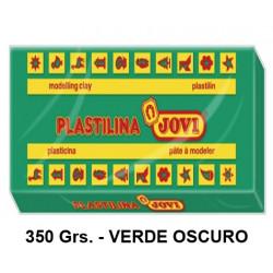 Plastilina jovi, pastilla de 350 grs. color verde oscuro.
