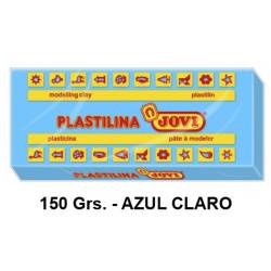 Plastilina jovi, pastilla de 150 grs. color azul claro.