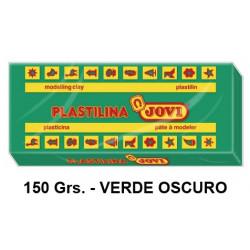 Plastilina jovi, pastilla de 150 grs. color verde oscuro.