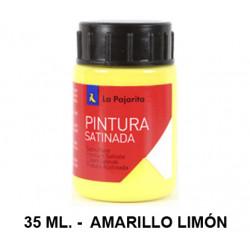Pintura satinada la pajarita, bote de 35 ml. color amarillo limón.