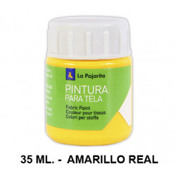 Pintura para tela la pajarita, bote de 25 ml. color amarillo real.