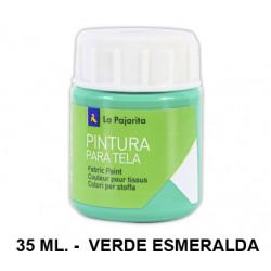 Pintura para tela la pajarita, bote de 25 ml. color verde esmeralda.