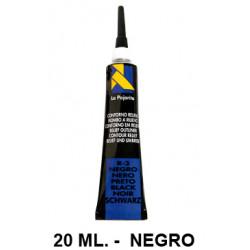 Contorno relieve la pajarita, bote de 20 ml. color negro.