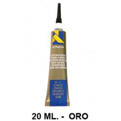 Contorno relieve la pajarita, bote de 20 ml. color oro.