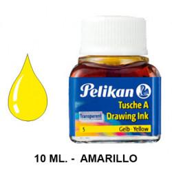 Tinta china pelikan, frasco de 10 ml. color amarillo.