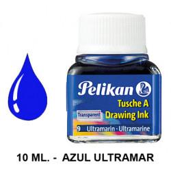 Tinta china pelikan, frasco de 10 ml. color azul ultramar.