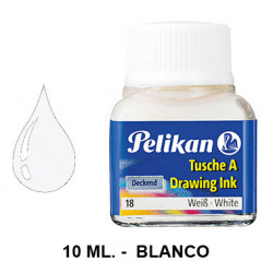 Tinta china pelikan, frasco de 10 ml. color blanco.