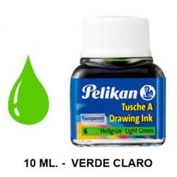 Tinta china pelikan, frasco de 10 ml. color verde claro.