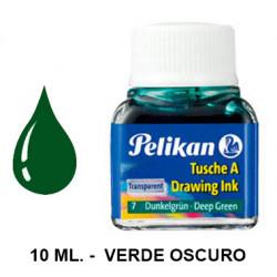 Tinta china pelikan, frasco de 10 ml. color verde oscuro.