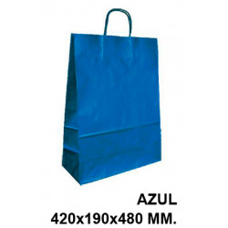 Bolsa en papel kraft con asas retorcidas q-connect en formato 420x190x480 mm. color azul.