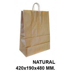 Bolsa en papel kraft con asas retorcidas q-connect en formato 420x190x480 mm. color natural.