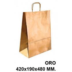 Bolsa en papel kraft con asas retorcidas q-connect en formato 420x190x480 mm. color oro.