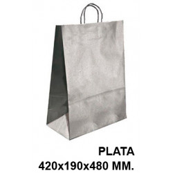 Bolsa en papel kraft con asas retorcidas q-connect en formato 420x190x480 mm. color plata.