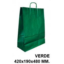 Bolsa en papel kraft con asas retorcidas q-connect en formato 420x190x480 mm. color verde.