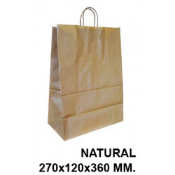 Bolsa en papel kraft con asas retorcidas q-connect en formato 270x120x360 mm. color natural.