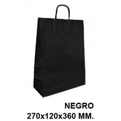Bolsa en papel kraft con asas retorcidas q-connect en formato 270x120x360 mm. color negro.