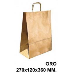 Bolsa en papel kraft con asas retorcidas q-connect en formato 270x120x360 mm. color oro.