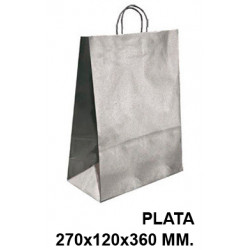 Bolsa en papel kraft con asas retorcidas q-connect en formato 270x120x360 mm. color plata.