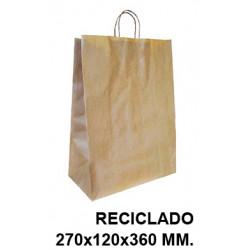 Bolsa en papel kraft con asas retorcidas q-connect en formato 270x120x360 mm. color reciclado.
