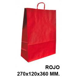 Bolsa en papel kraft con asas retorcidas q-connect en formato 270x120x360 mm. color rojo.
