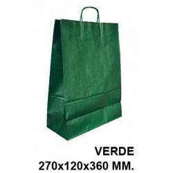 Bolsa en papel kraft con asas retorcidas q-connect en formato 270x120x360 mm. color verde.