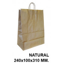 Bolsa en papel kraft con asas retorcidas q-connect en formato 240x100x310 mm. color natural.