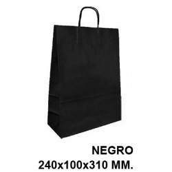 Bolsa en papel kraft con asas retorcidas q-connect en formato 240x100x310 mm. color negro.