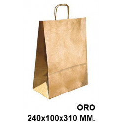 Bolsa en papel kraft con asas retorcidas q-connect en formato 240x100x310 mm. color oro.