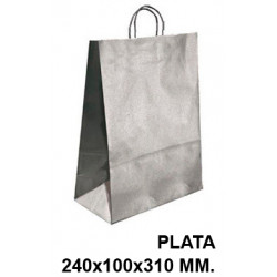 Bolsa en papel kraft con asas retorcidas q-connect en formato 240x100x310 mm. color plata.