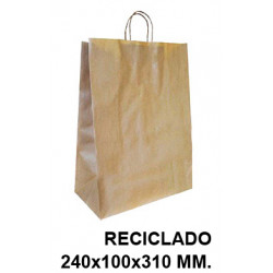 Bolsa en papel kraft con asas retorcidas q-connect en formato 240x100x310 mm. color reciclado.